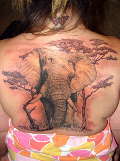 Elephant Tattoo Design on Back