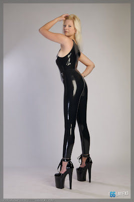 Sexy Blonde and Long Latex Legs