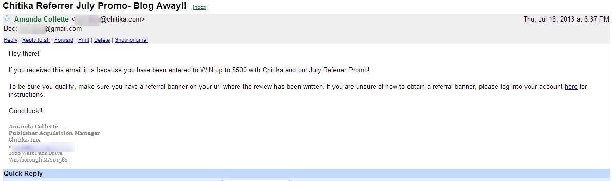 Wining Email from Chitika