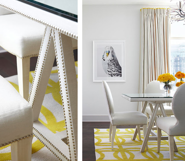 The Lennoxx, nailhead furniture, dining room, bird print, yellow and white