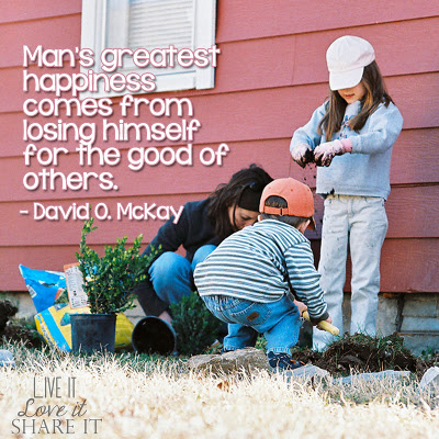 Man's greatest happiness comes from losing himself for the good of others. - David O. McKay