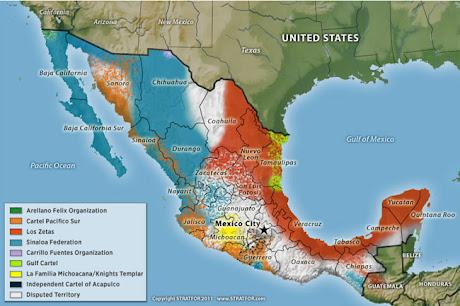 Mapa Distribucion Carteles de Droga Mexico