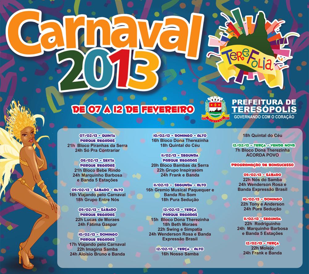 Teresópolis Carnaval 2013 – Programação contempla cidade e interior