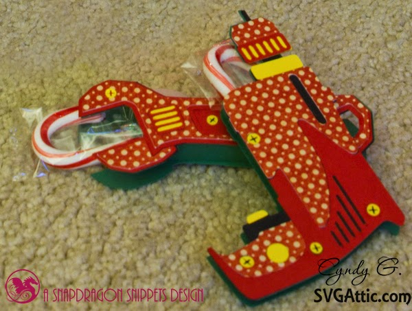 paper power drill and wrench made with bright Christmas paper