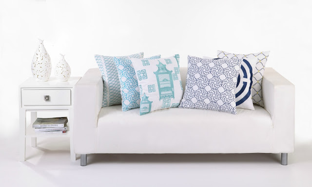 COCOCOZY Embroiderd Pillows in Loop, Maroc, Birdcage Toile, Kip and COCOCOZY Light