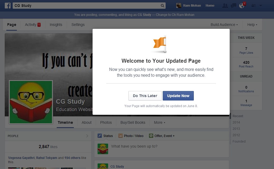 how to get page upgrade in fb