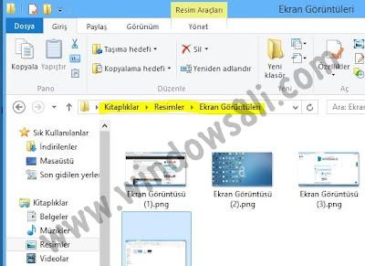 Windows 8 Ekran Görüntüsü Klasörü