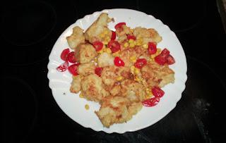 Presentación de Coliflor en tempura