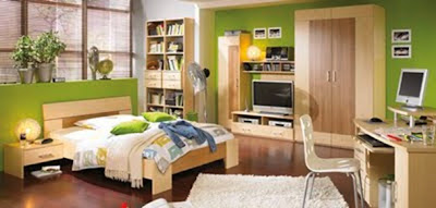 dormitorio juvenil color verde