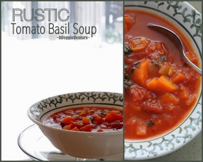 Rustic Tomato Basil Soup, vegan soup on the table in 45 minutes.