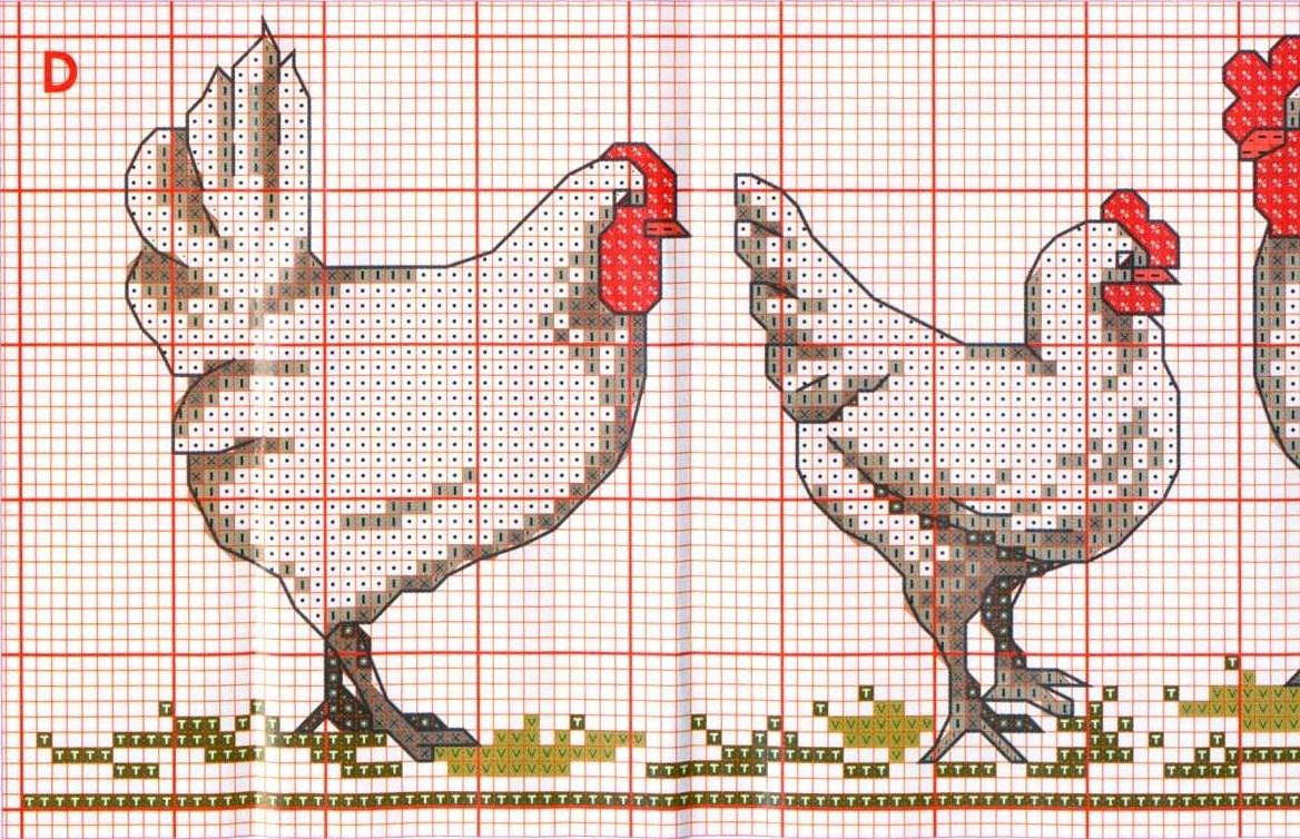 Петухи и куры вышивка крестом