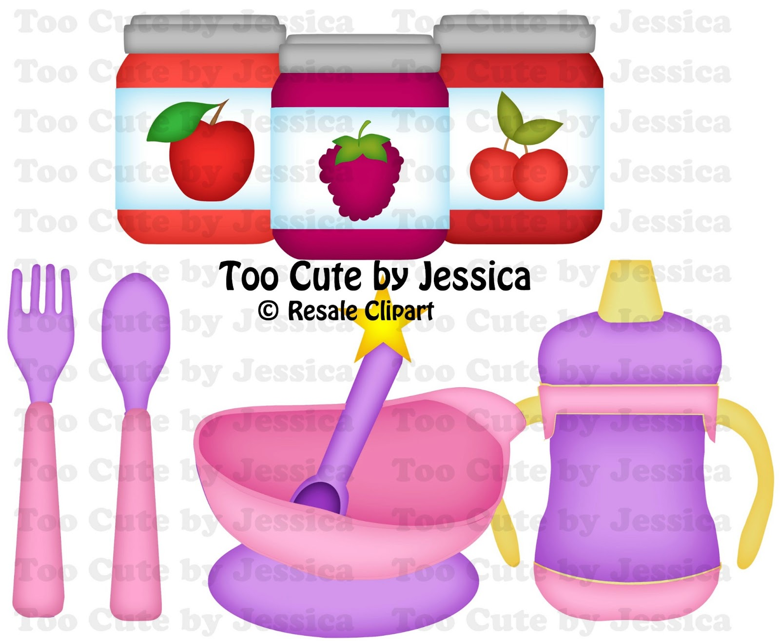 Baby Food Clip Art Original artwork by resale clipart. cutting files