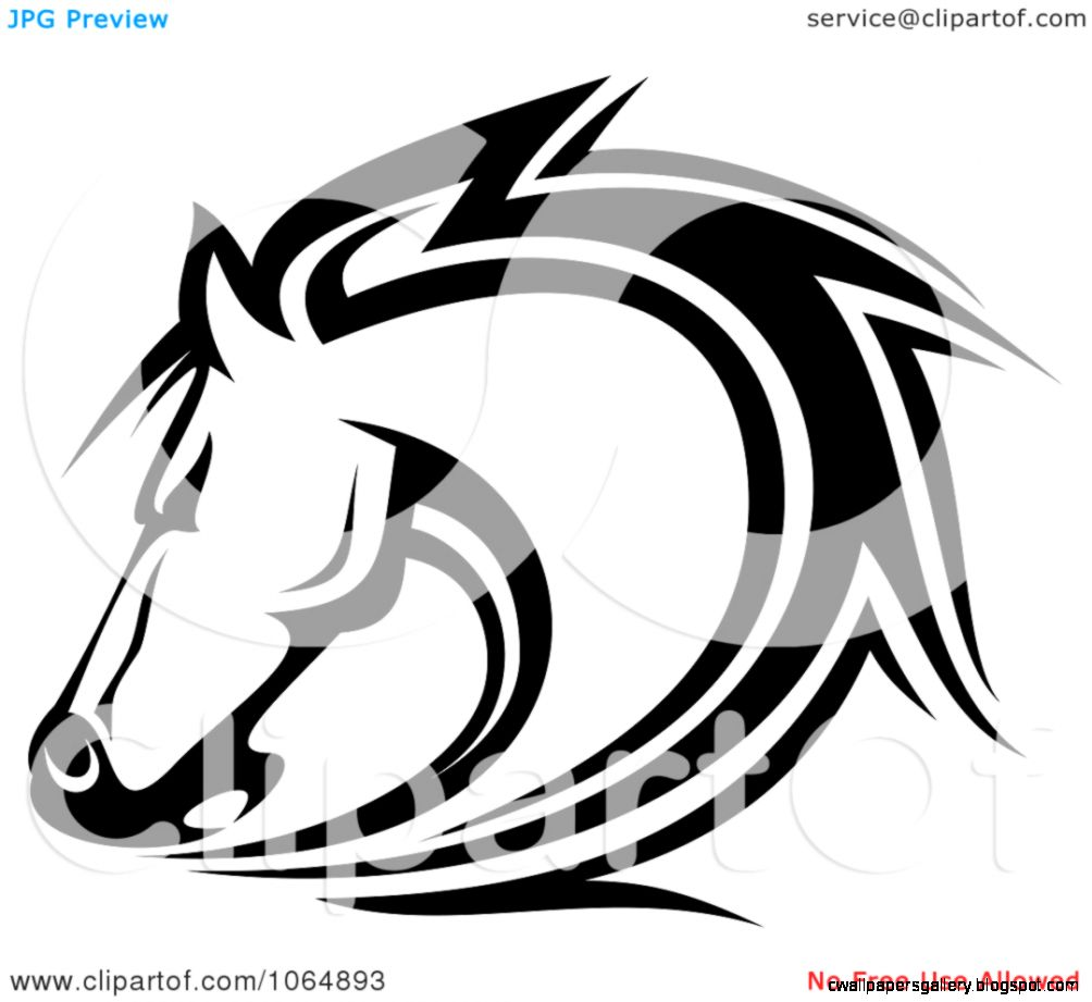 Clipart Horse Head Logo In Black And White 7   Royalty Free Vector