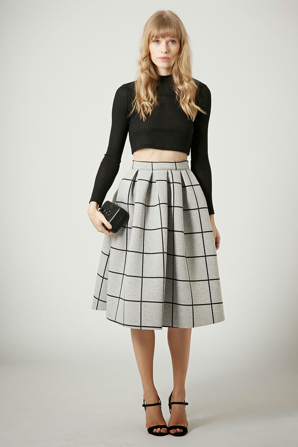square print full skirt