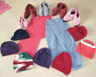 slippers, scarves, hats
