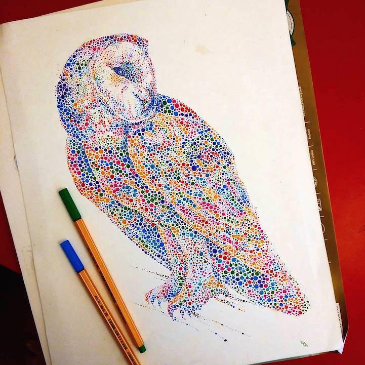 Animales dibujados de cientos de puntos multicolores por Ana Enshina