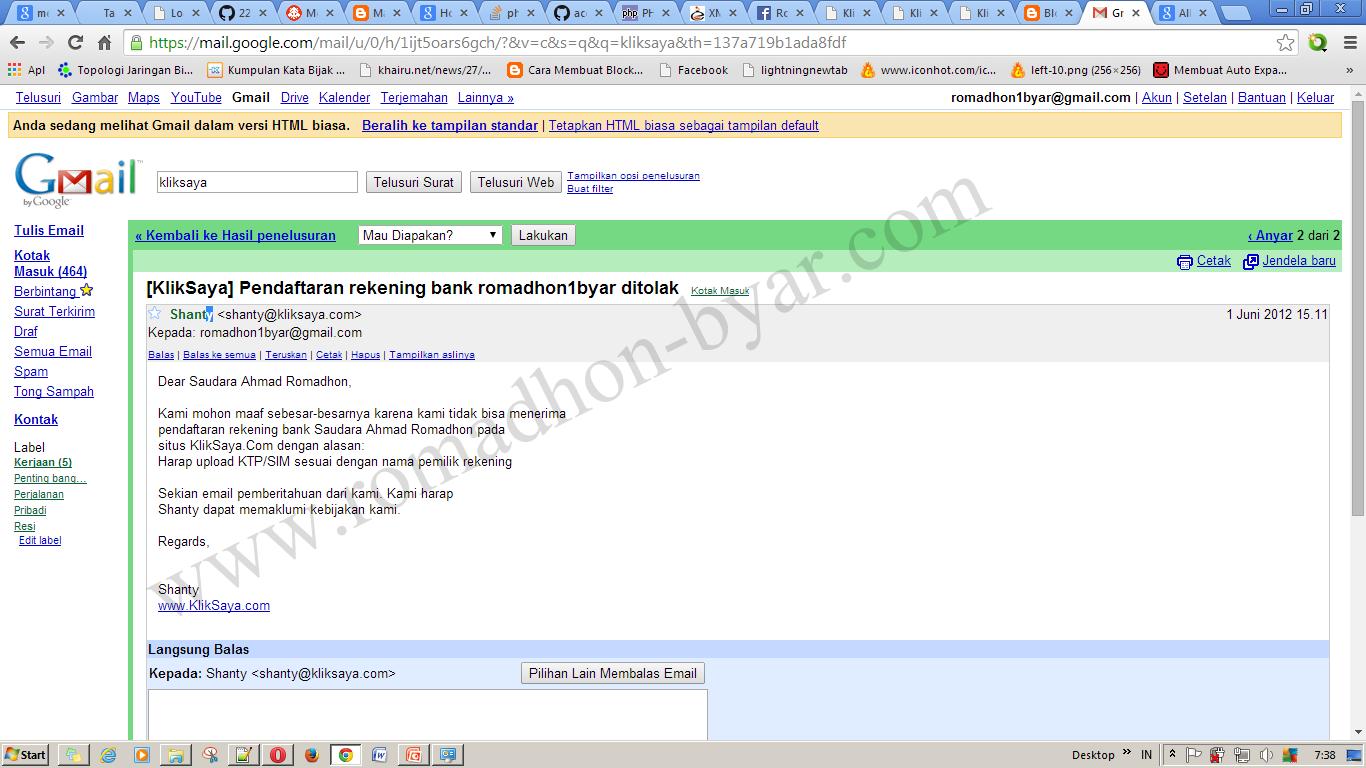 Screnshot e-mail - Nama KTP tidak sesuai dengan nama pemilik rekening  - www[dot]romadhon-byar[dot]com