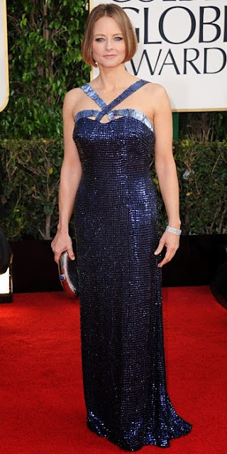 Jodie Foster in navy Giorgio Armani at the Golden Globes 2013