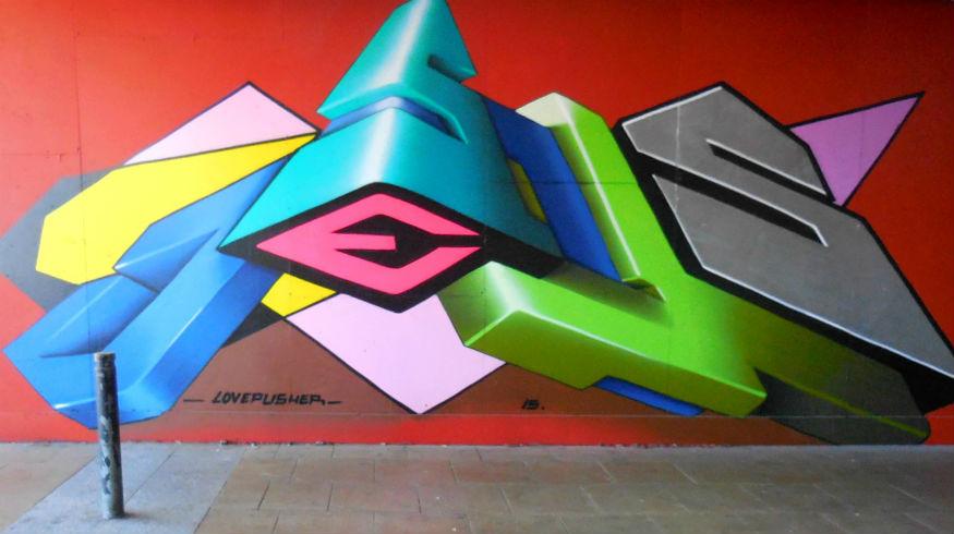 Lovepusher street art Jesus