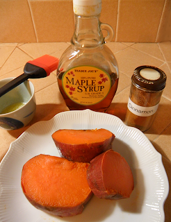 Baked Yams on Plate with Maple Syrup, Butter, and Cinnamon on the Side