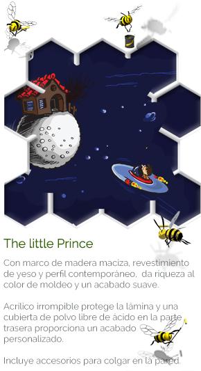 The little Prince - COMPRAR CUADRO ::: Con marco de madera maciza, revestimiento de yeso y perfil contemporáneo,  da riqueza al color de moldeo y un acabado suave. Acrílico irrompible protege la lámina y una cubierta de polvo libre de ácido en la parte trasera proporciona un acabado personalizado. Incluye accesorios para colgar en la pared.