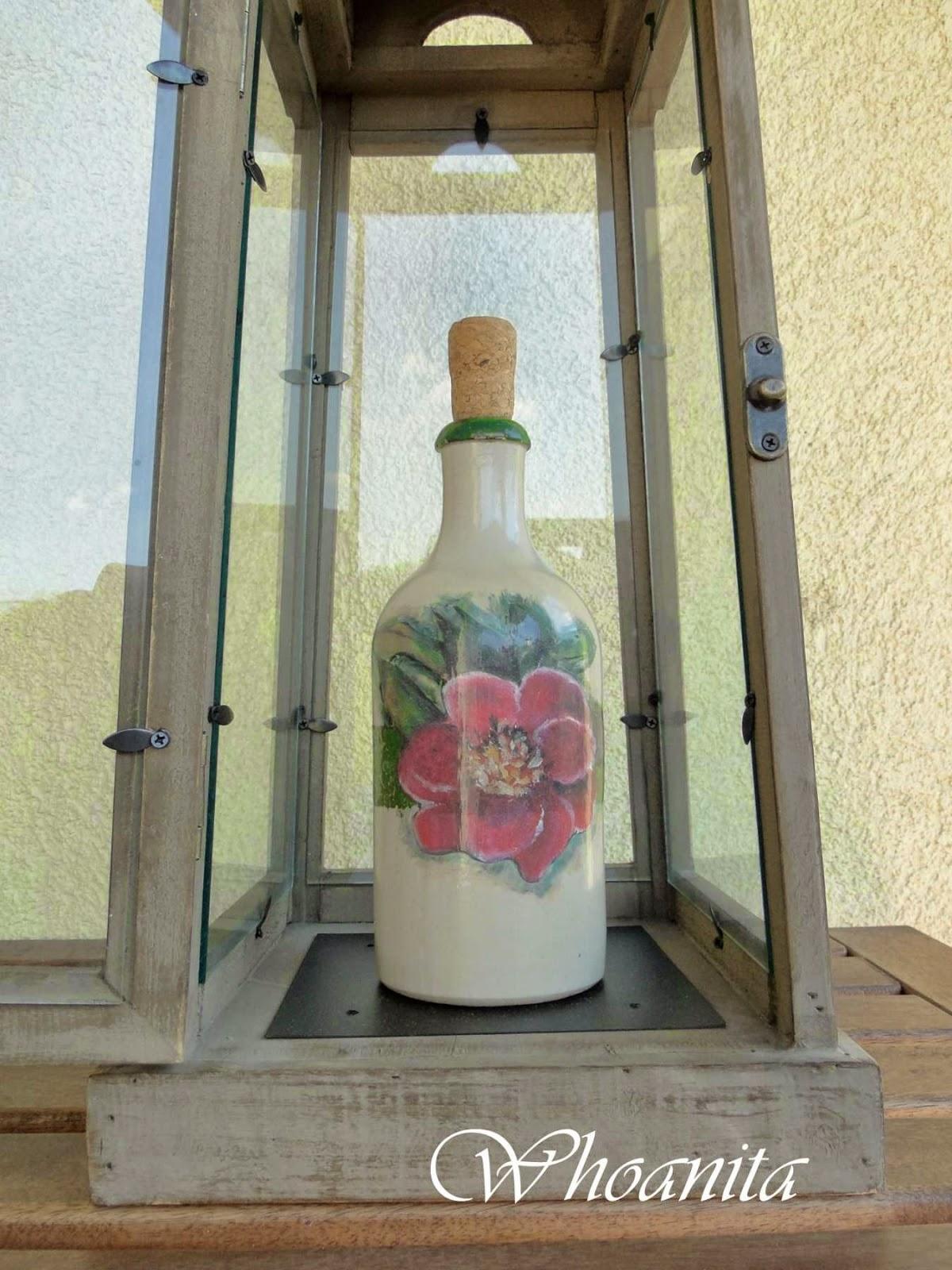 butelka z kwiatem, decoupage