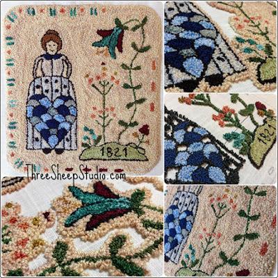 'Tending Her Garden' Punch Needle Design by Rose Clay at ThreeSheepStudio.com