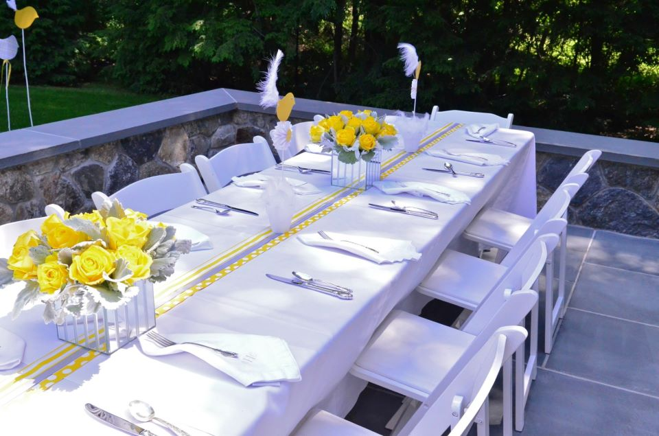Yellow and Gray Baby Shower Table