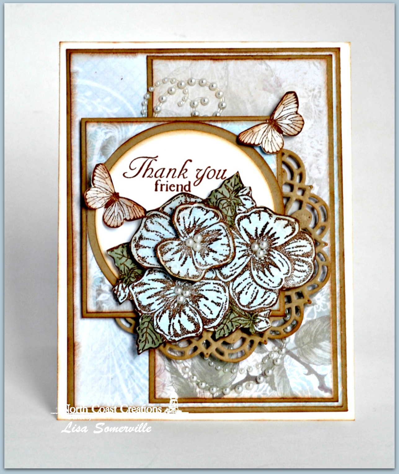 Stamps - North Coast Creations  Pansies, Floral Sentiments, ODBD Stamped by Butterfly Mini, ODBD Custom Doily Dies, ODBD Custom Circle Ornaments Dies, ODBD Custom Matting Circles Dies, ODBD Shabby Roses Paper Collection