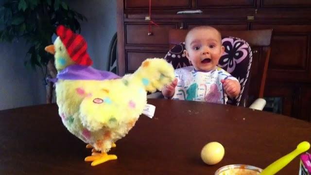 Un bébé surpris par une poule en peluche qui pond des oeufs