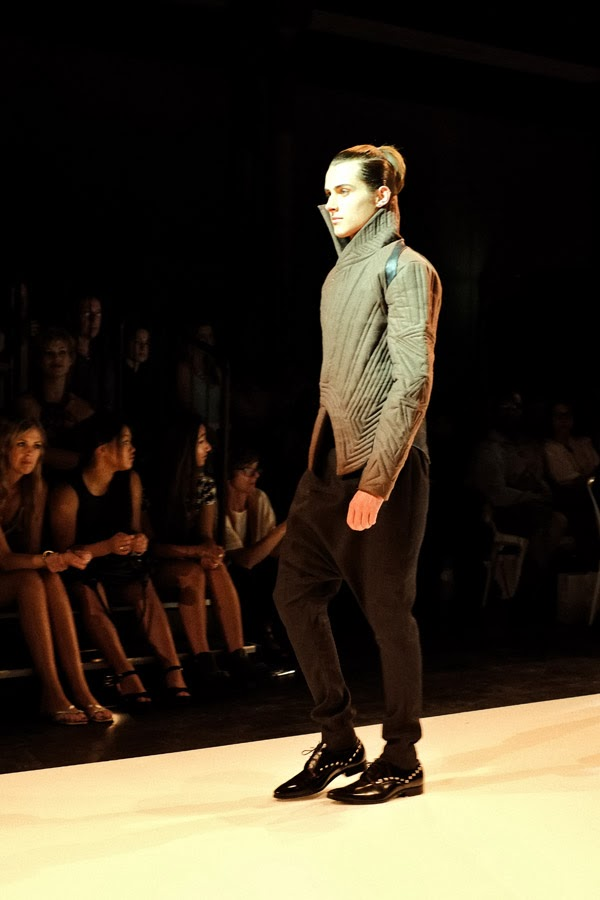 Ngoc Thuy Phung, quilt jacket, black pants - Menswear : Raffles Graduate Fashion Parade 2013 Photography by Kent Johnson.