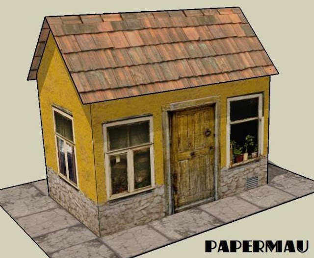 Papermau Easy To Build Yellow House Paper Model By