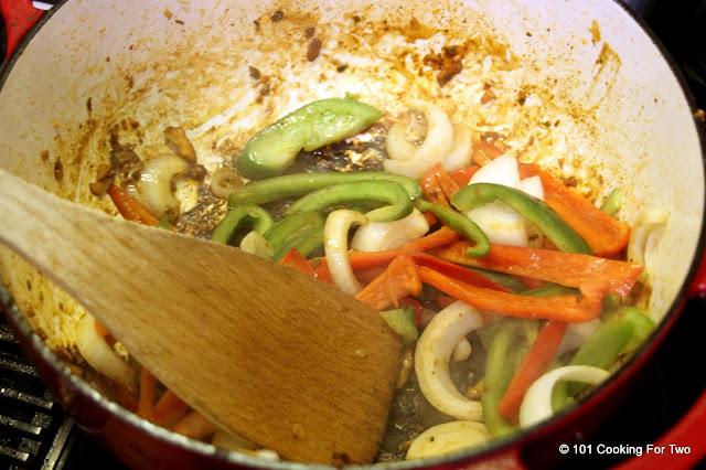 Cook the serving veggies Chicken Carnitas