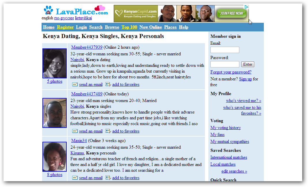 Major dating sites