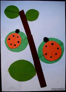 biedronki na gałęzi