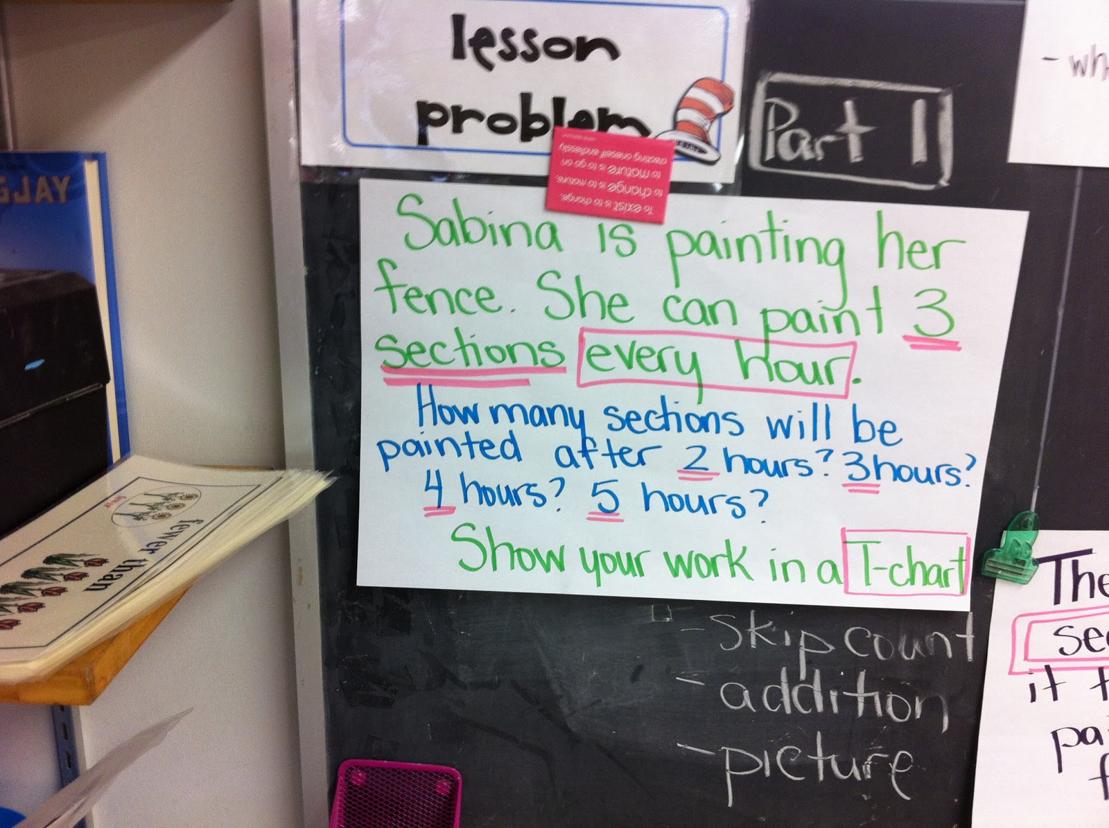 Thinking of Teaching: Using a T-chart to Solve Patterns- Math Huddle