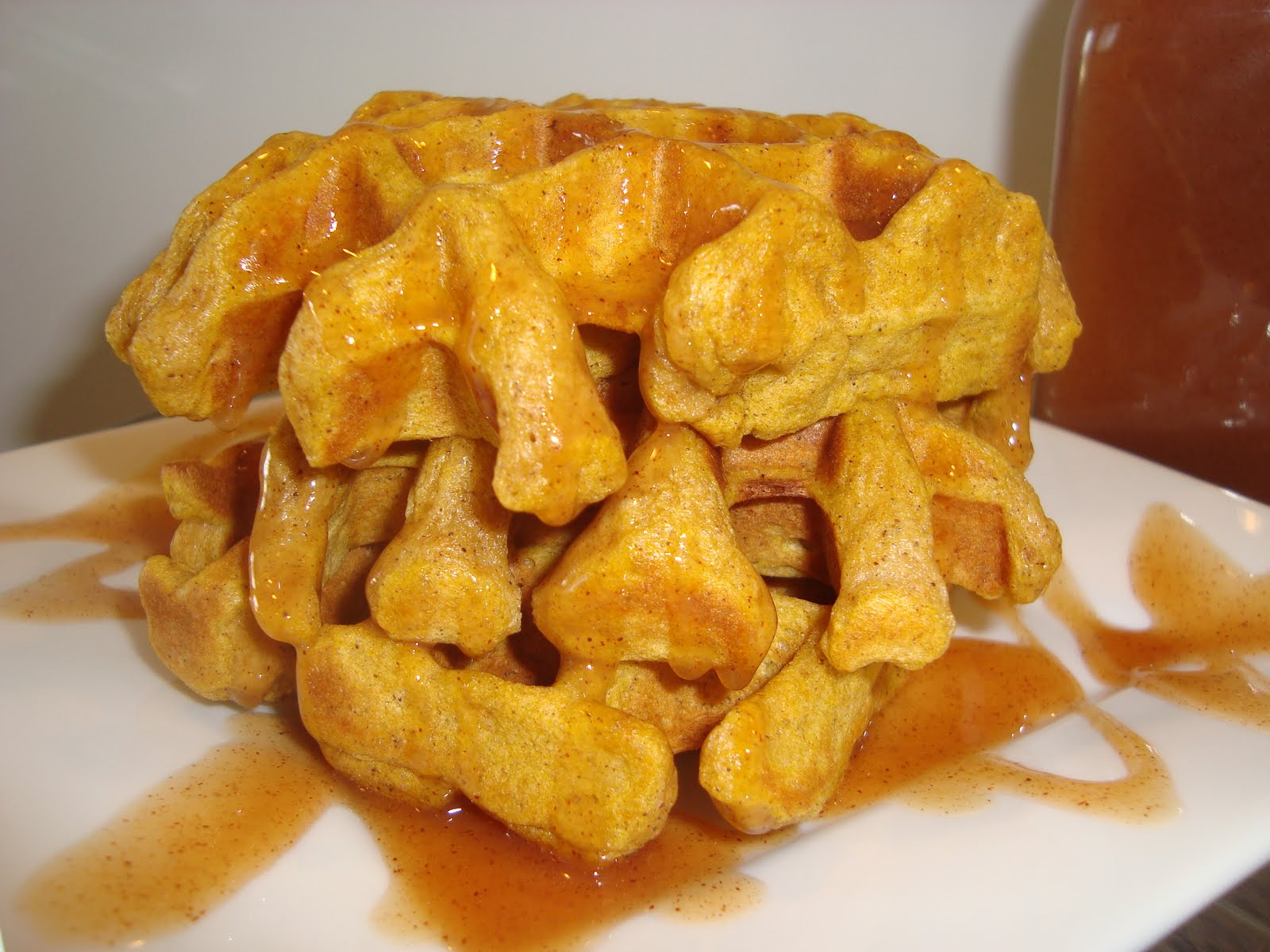 Pumpkin Waffles with Apple Cider Syrup ~ Dip it in Chocolate