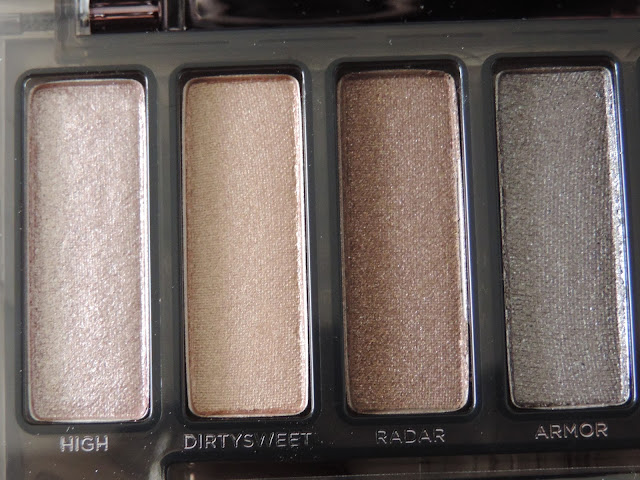 Urban Decay Naked Smoky Palette (from left) High, DirtySweet, Radar, Armor