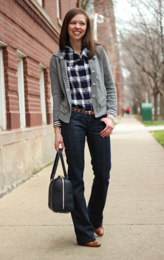 StyleSidebar - Navy &amp; White Plaid, Gray Sweater
