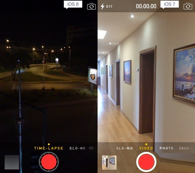 iOS 8 and iOS 7 Time-lapse videos