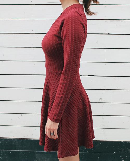 Mandarin Collared V-Neck Flared Dress
