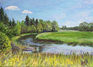 Maastik Jõgi,  akrüülmaal lõuendil, acrylic painting on canvas Keiu Kuresaar
