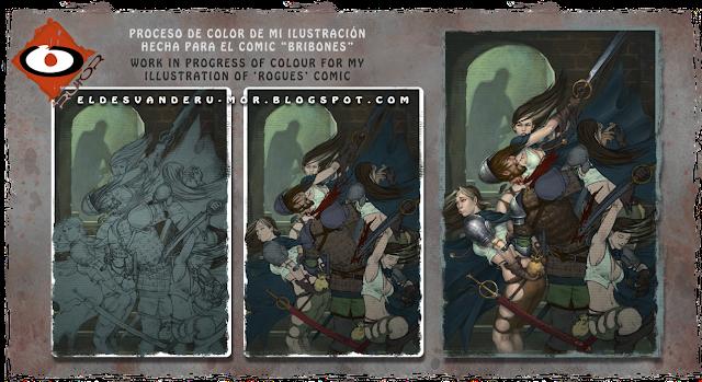 proceso de color de ilustración de portada hecha por ªRU-MOR para el comic Bribones editado por dibbuks en España, ROGUES! editado por AMIGO comics en USA, fantasía, espadas, brujería