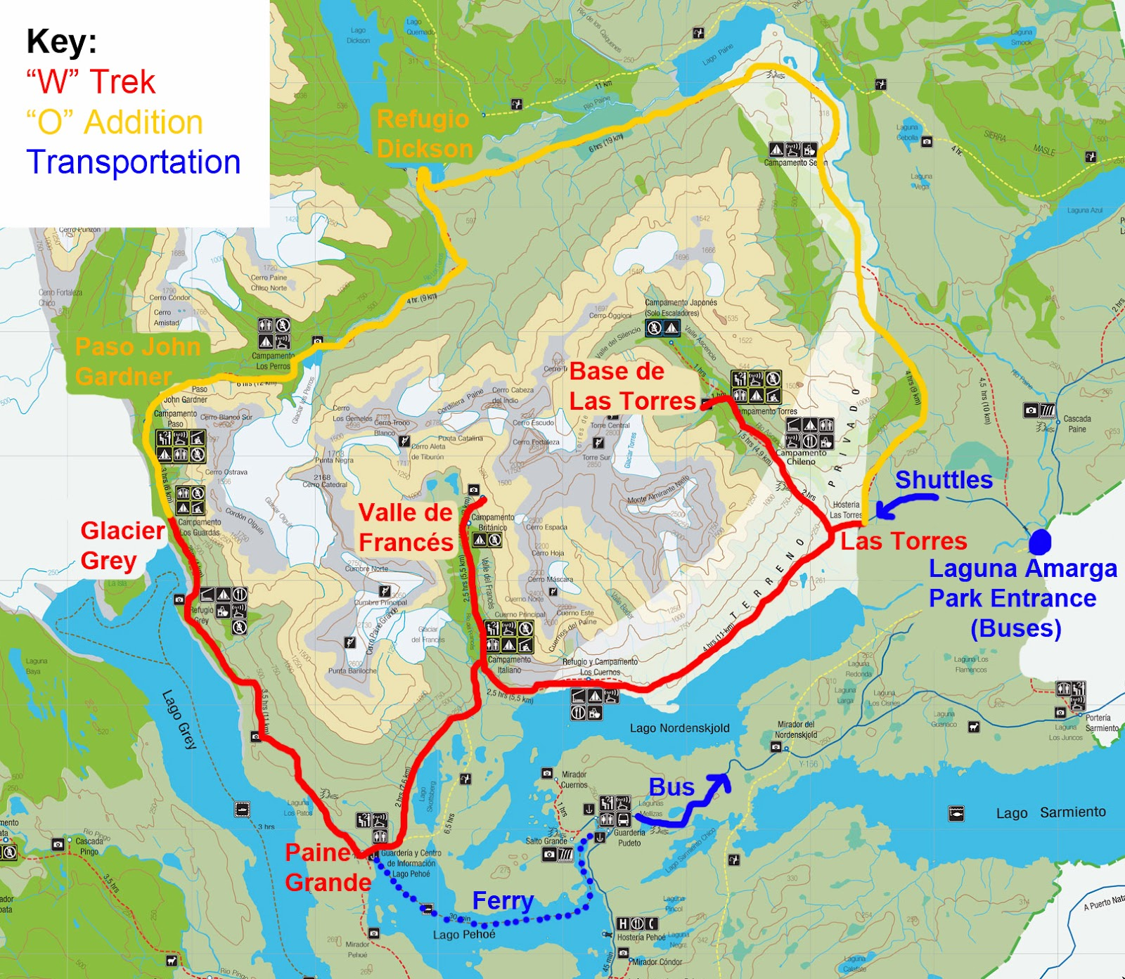 Circuito W Mapa : Cariedaway: planning your trip to torres del paine