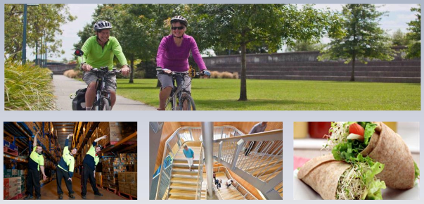 4 photos - people riding bikes; workers stretching; people on stairs; salad wraps