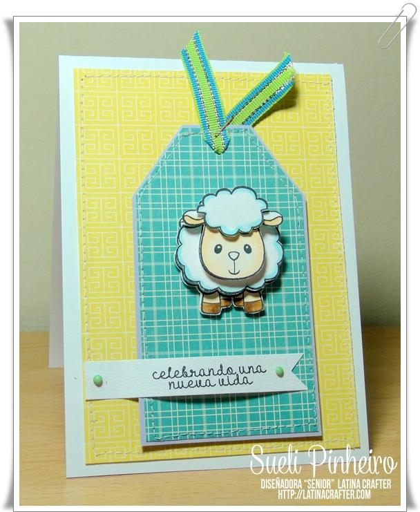 tarjeta  comunión  con ovejita