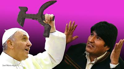 Evo Morales y el crucifijo regalado al Papa Francisco. La Hoz y el Martillo.