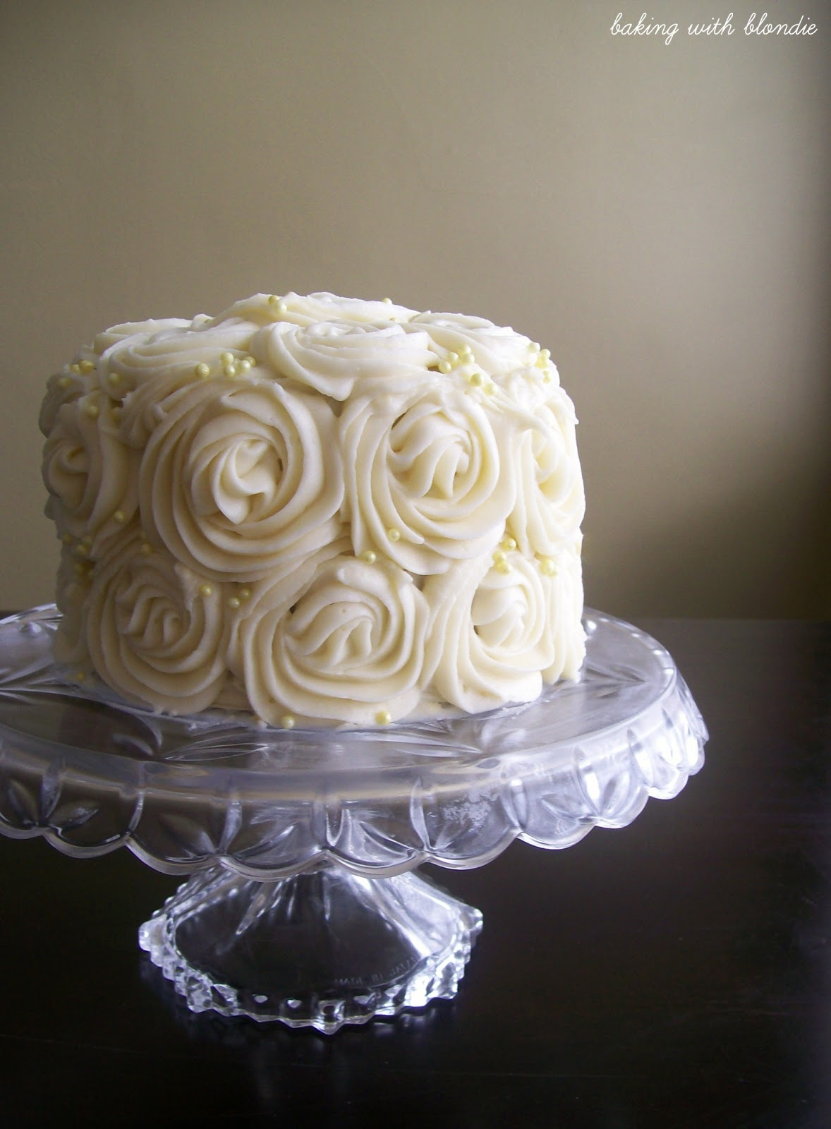 Almond Cream Cheese Frosted Rosette Cake