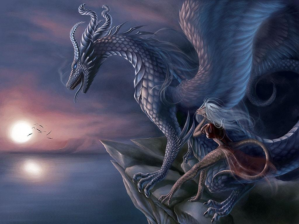Dragon With the Lady || Top Wallpapers Download .blogspot.com