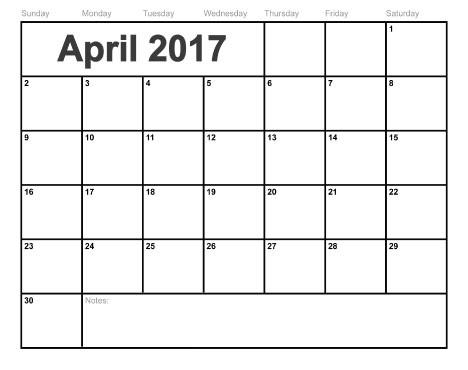 Blank Calendar 2017 April – Printable Editable Blank